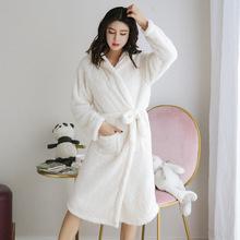 韩版秋冬季睡袍女冬季加厚水貂绒加长连帽法兰绒韩版性感可爱保暖