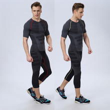 Men's sports tights suit short-sleeved cropped trousers light pressure comfortable breathable quick-drying clothes outdoor running fitness clothes