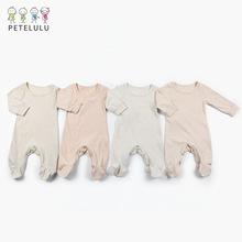 厂家定制春秋新款新生儿服饰 有机棉连衣哈衣条纹婴儿连体衣