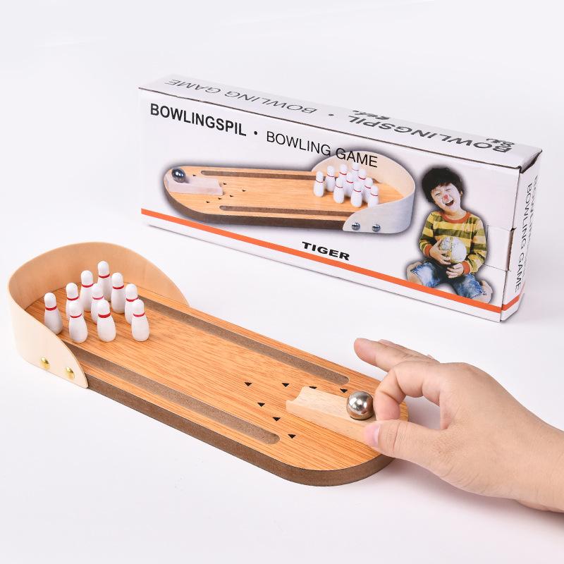 木制儿童创意迷你保龄球成休闲人指尖室内桌面减压游戏桌游玩具