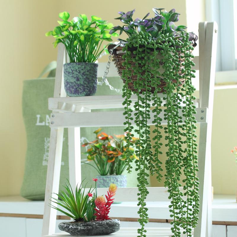 72cm手感高仿真多肉植物情人泪佛珠装饰花壁挂吊篮藤条塑料假花