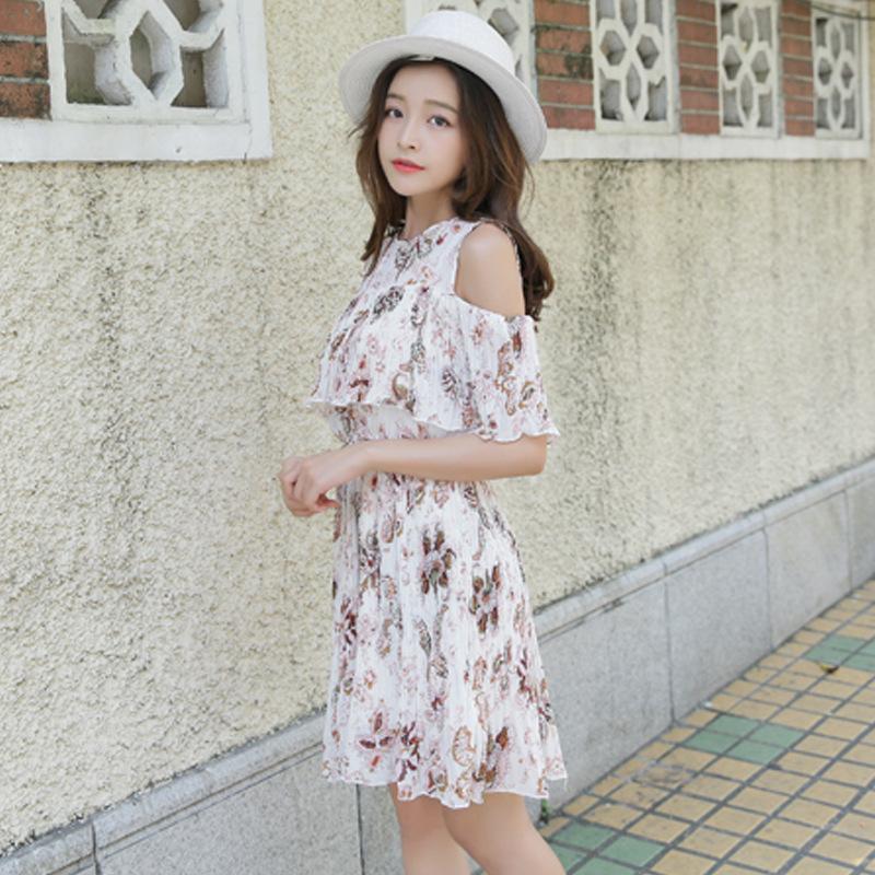 2017 mùa hè mới của Hàn Quốc ngắn tay cổ tròn quây váy nhỏ học pleated hoa váy tươi