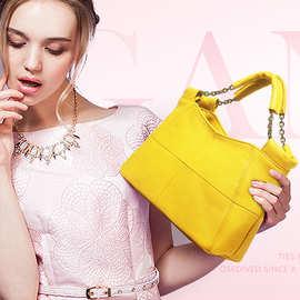 真皮女士包包2018欧美时尚手提包链条软皮小方包头层牛皮广州批发