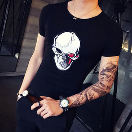 17 summer new slim personality skull embroidery short-sleeved T-shirt casual tough guy style T-shirt male hot