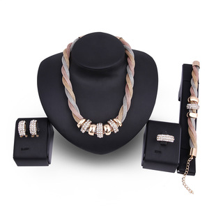 Cross-border e-commerce hot sale European and American fashion gold-plated diamond four-piece new bridal jewelry set factory direct sales