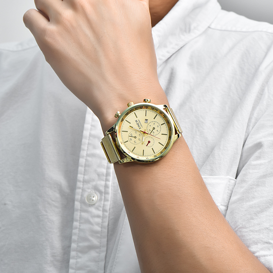 Full Steel Watches Mens Gold Date Business Gifts Wristwatch