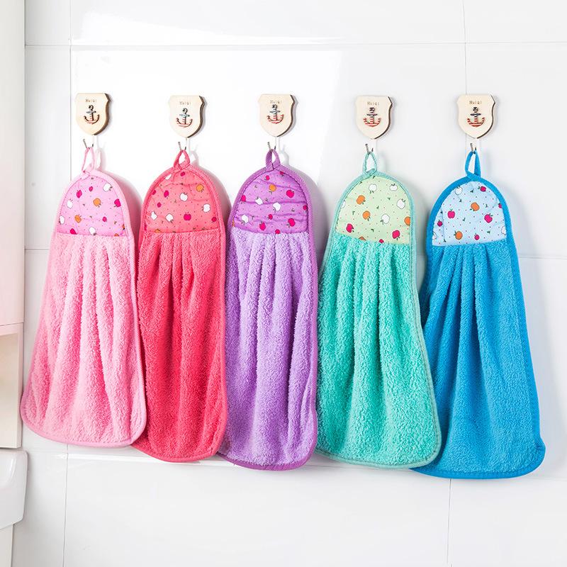 2396 超强吸水珊瑚绒擦手巾 可挂式不沾油厨房洗碗巾厨房小工具 T