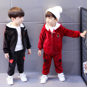Winter, two sets of Double thick sweater boy female baby winter suit tau two piece children