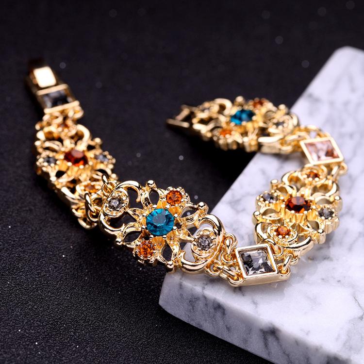 Fashion Alloy Rhinestone Bracelets Flowers (Rose alloy)  NHQD4365-Rose alloy