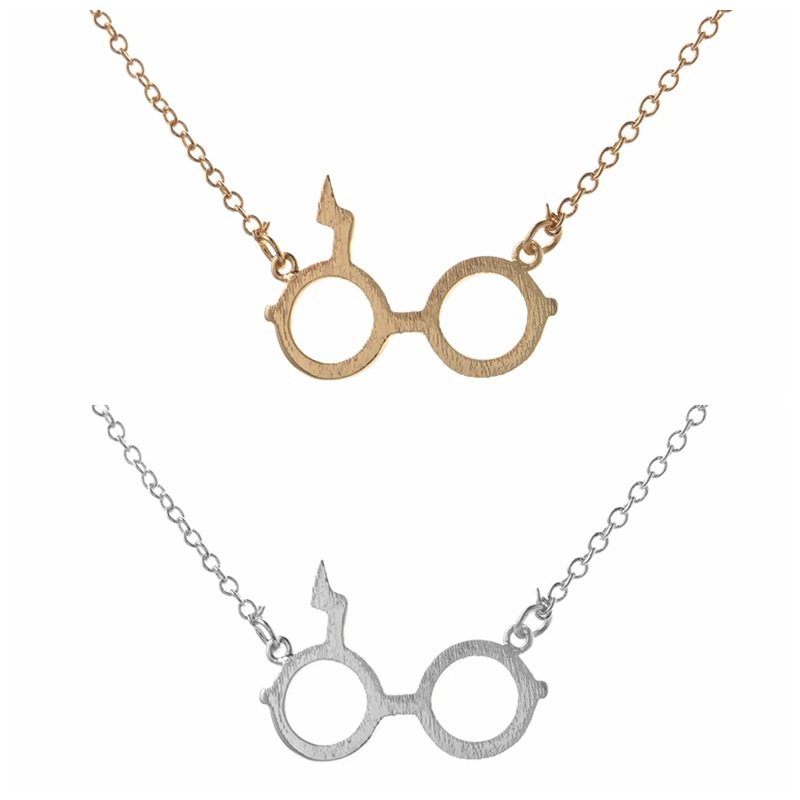 Harry Potter Glasses Necklace Deathly Hallows Pendant Necklace Gold Plated Silver Lightning Z Necklace NHCU206483