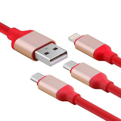 适用于苹果安卓乐视TYPE-C 三合一通用 充电线 Q弹一拖三快充线