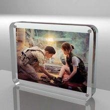 定制亞克力水晶相框雙面玻璃磁鐵擺臺 12寸A4透明臺卡圓角相框