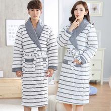 秋冬季睡袍女士加厚加长款加绒夹棉睡衣大码冬天男士加棉情侣浴袍