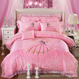 New wedding romantic lace love seabed cover four-piece wedding home textile bedding