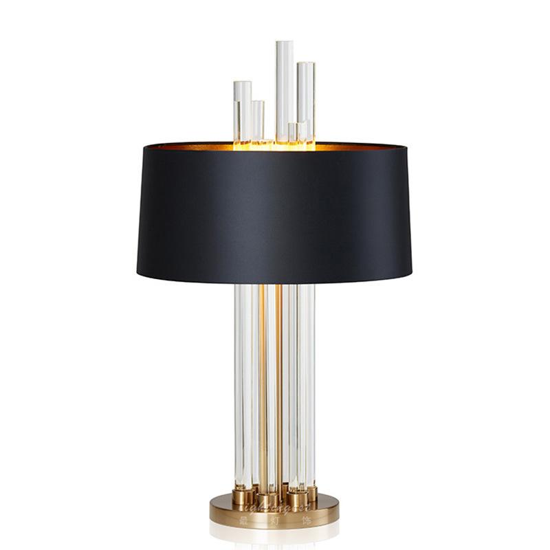 现代水晶玻璃棒台灯创意古铜色五金铁艺客厅设计师黑色?#23478;?#21488;灯