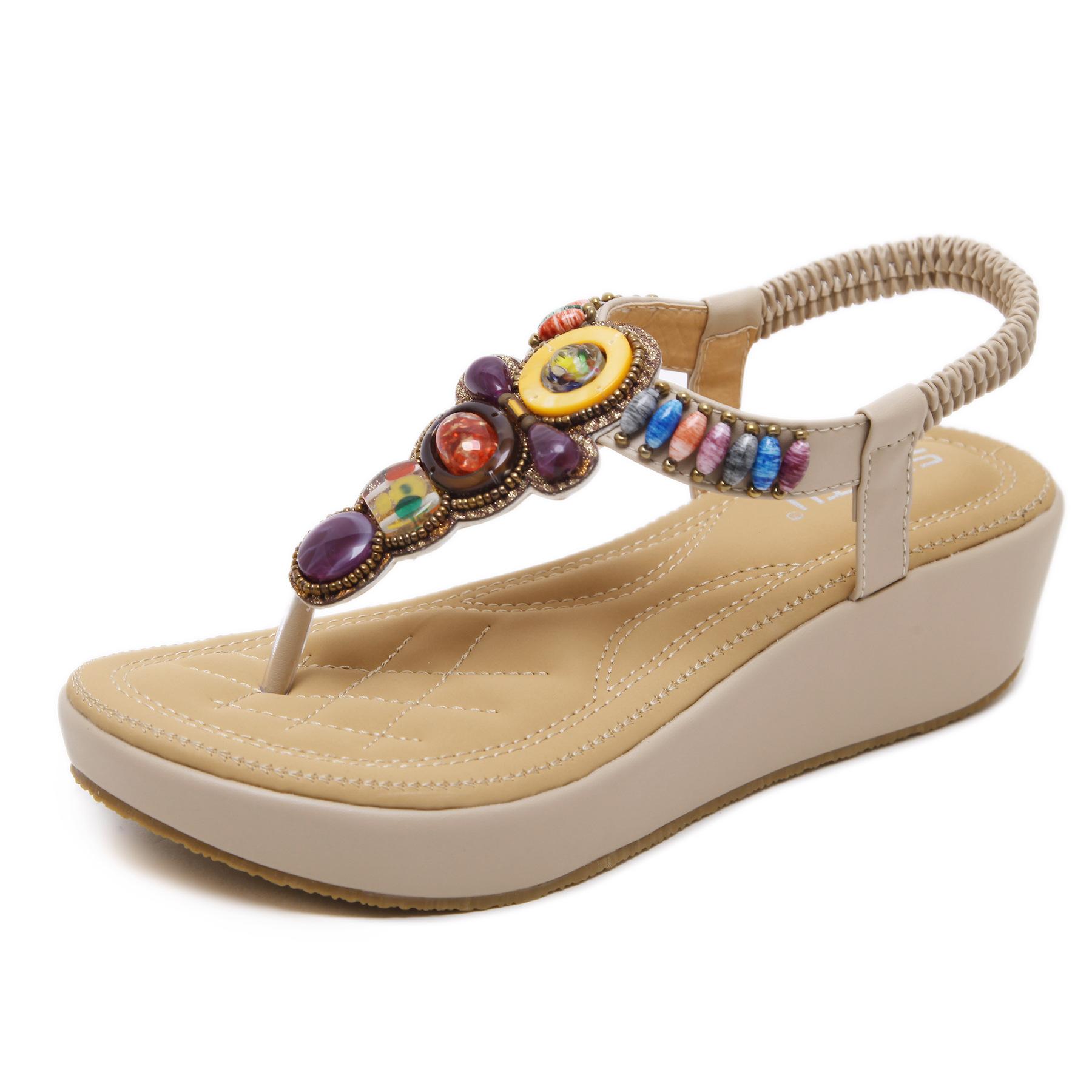 2115-1强锌2019新款韩版凉鞋波西米亚坡跟鞋串珠大码女鞋批发