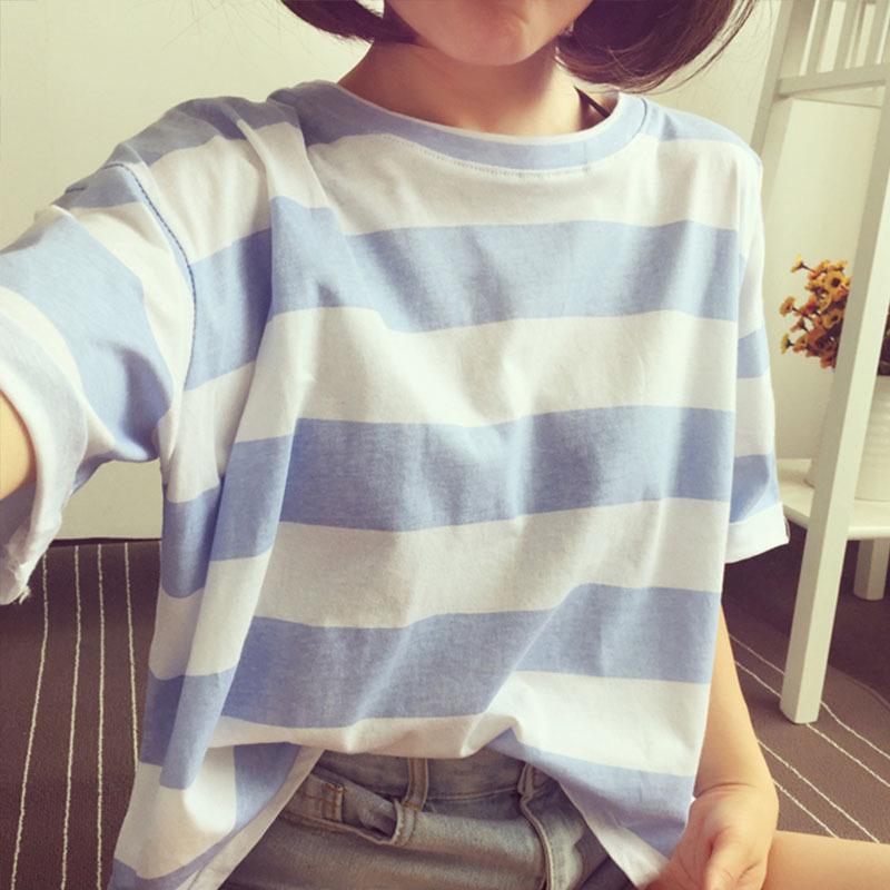 女士短袖t恤韩版宽松条纹潮流女装2020夏季新款时尚百搭简约上衣