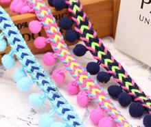 新款現貨2.3cm韓國小香風吊毛球花邊服飾人字編制織帶百搭衣邊