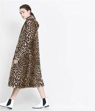 歐洲站秋冬女款豹紋環保仿皮草超長款風衣仿兔毛毛西裝領大衣外套