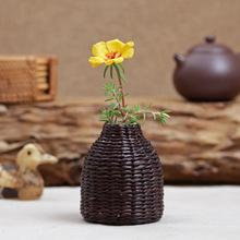 草编迷你陶瓷花瓶 日式复古小号水培粗陶花器 禅意家居摆件藤花插