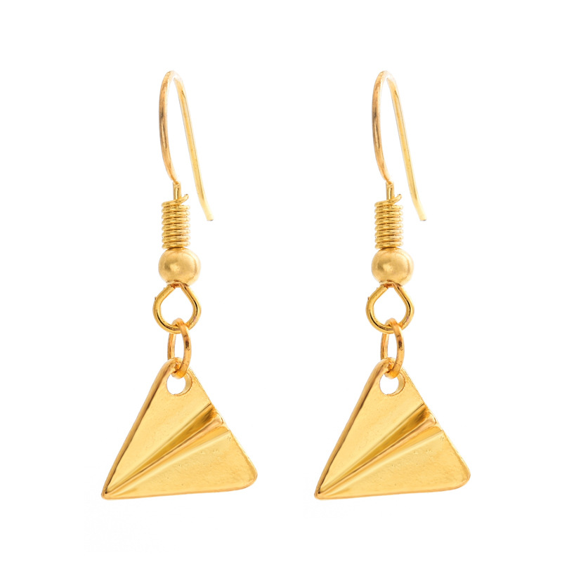 Fashion simple small airplane head earrings alloy electroplated paper airplane earrings NHCU196682