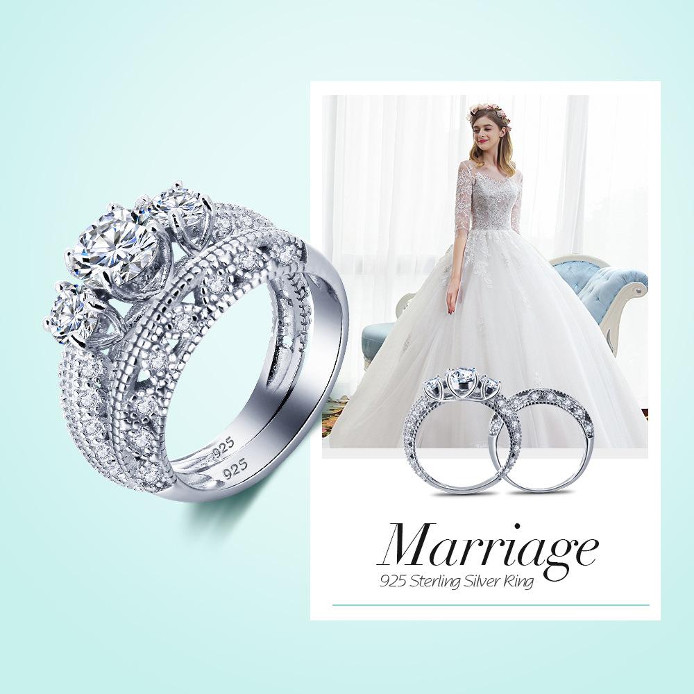 925银戒指女士韩版锆石情侣求婚戒指 时尚仿真钻戒情人礼物饰品