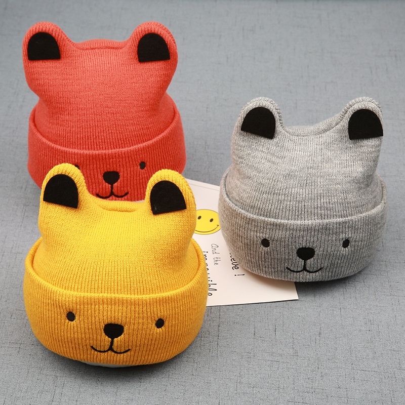 New Style Autumn And Winter Baby Beanie Cat Dog Cartoon Knitted Hat Children Leisure Wool Tide Baby Warm Hat