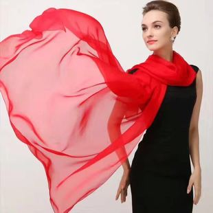 Summer solid color large silk scarf imitation silk ladies wild multi-function extended beach towel thin scarf shawl
