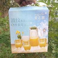 Поперечный принт полосатый принт волна принт Вода в горшке с пятью наборы Стеклянная холодная чайная улитка принт Набор водяного чая 3 накладки Подарочная коробка