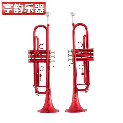 降B调红色小号 蒙乃尔活塞三音小号 喷漆铜管小号乐器