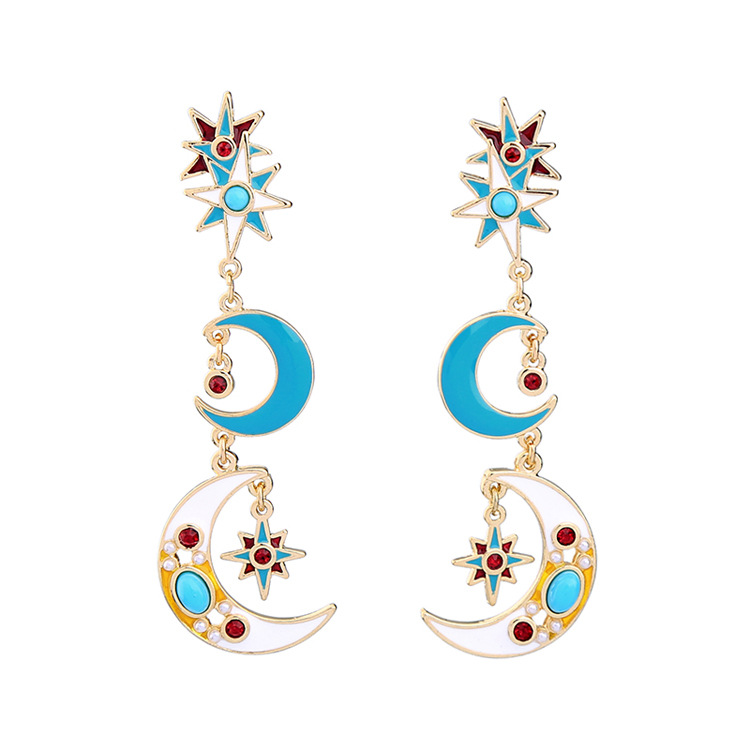 Occident and the United States alloy Drip oil earring NHQD4021