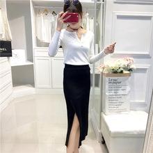 半身裙女中长款包臀2017新款冰丝显瘦大码针织开叉一步裙