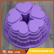 硅膠5連愛心蛋糕模 中間空心 心形圓形烤盤 DIY烘焙工具 廠家直銷