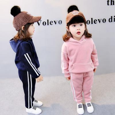 慕乐2017新款春秋冬装加厚中小儿童套装男女宝宝加绒两件套韩版潮