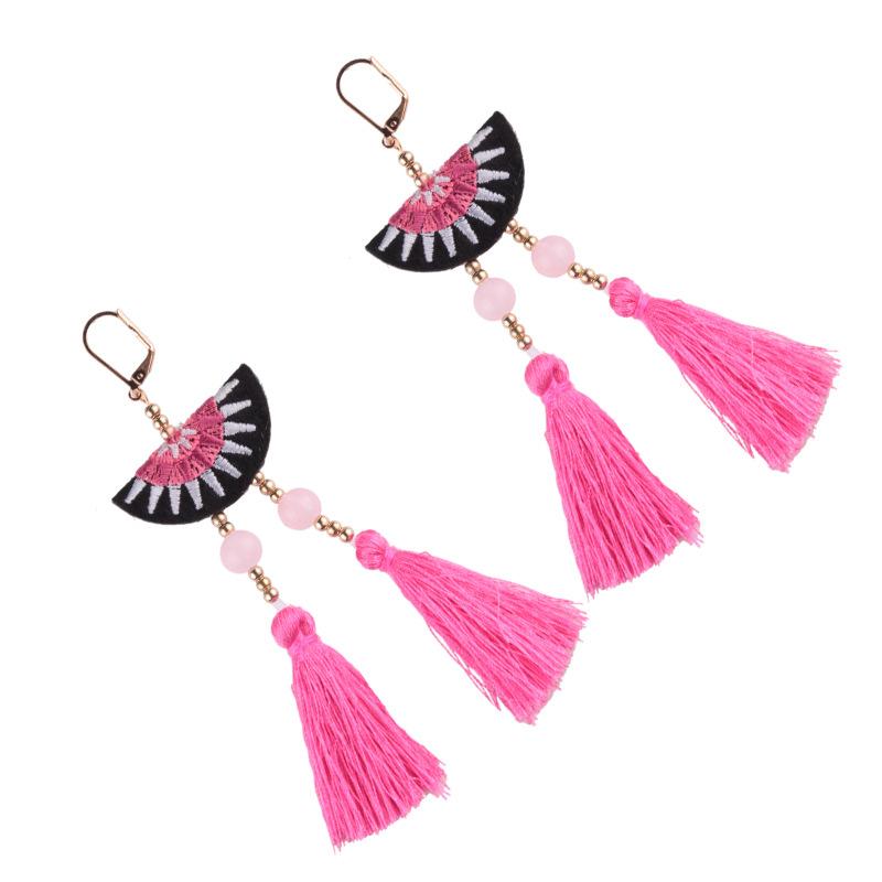 folk-custom alloy hand made earring (Rose pink)NHJQ9301-Rose pink