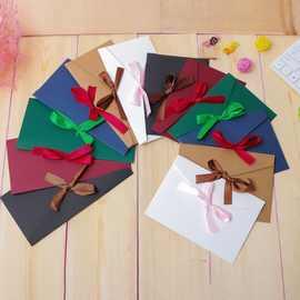 絲帶信封 西式複古純色空白大小教師節複古創意西式信封 請柬信封