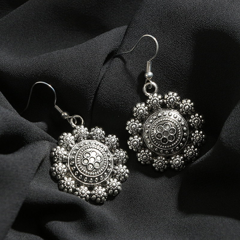 Vintage Alloy plating earring Flowers (Main color)NHGY1581-Main color