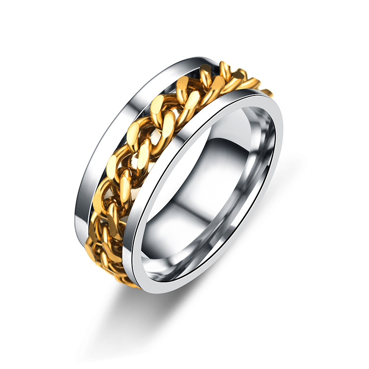 Titanium&Stainless Steel Fashion Geometric Ring  (8MM steel color 6) NHTP0035-8MM-steel-color-6