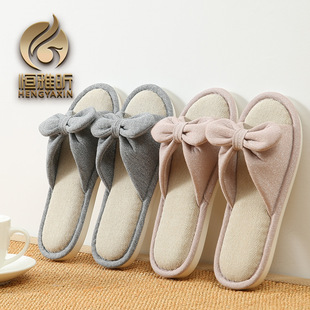 2017 spring and summer Japanese-style home slippers small fresh bow ladies linen wood floor cool slippers