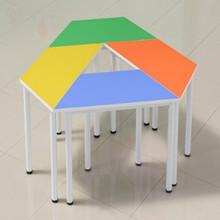 批发学校彩色中小学生课桌椅辅导班培训桌儿童书桌组合长条美术桌