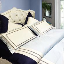 外貿原單80支純棉四件套外貿大牌床品素色提花刺綉床上用品