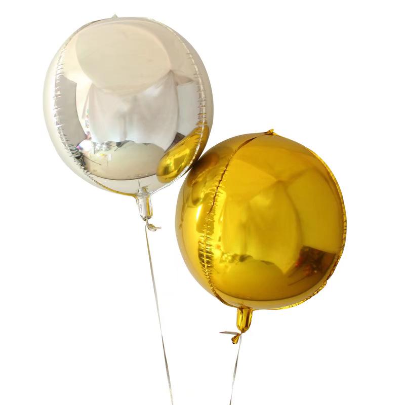 22寸4D圆球四面铝箔气球婚庆生日派对布置镜面铝膜气球