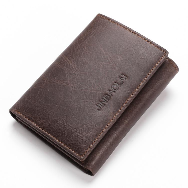 Amazon Anti-Theft Swipe Tri-fold Multi-Card RFID Men's Leather Wallet Shield Anti-Theft Wallet Men Wallet