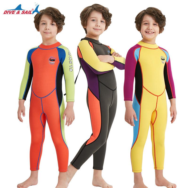 新款批发2.5MM儿童潜水服连体长袖游泳衣保暖防晒浮潜温泉冲浪服