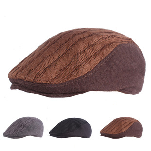 Woolen beret middle-aged and elderly hats autumn and winter forward hat woolen caps men and women winter hats