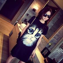 2017春夏装新款韩版女士短袖T恤可爱猫咪印花大码女装宽松中长裙