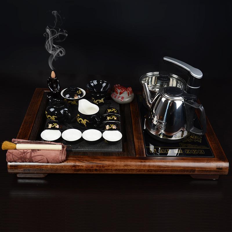 厂家直销一帆风顺汝窑手绘陶瓷自动茶具套装实木柯木茶盘 可代发