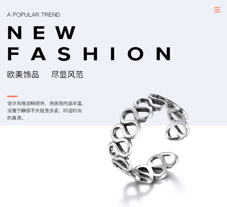 Fashion OL silverRing (Silver - adjustable opening)NHNTF1361-Silver - adjustable opening