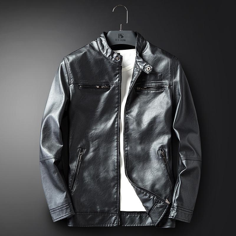 2020秋季男士皮衣休闲皮衣时尚潮流立领摩托机车服皮夹克一件代发