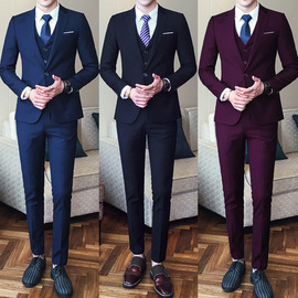 Suit Set Men's Three-Piece Slim Professional Business Formal College Students Best Man Small Suit Groom